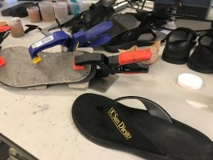 A flip flop prototype made by Algenesis in their UCSD laboratory. Photo credit: Daniel Fishman